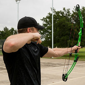 Student practicing archery at HSU event