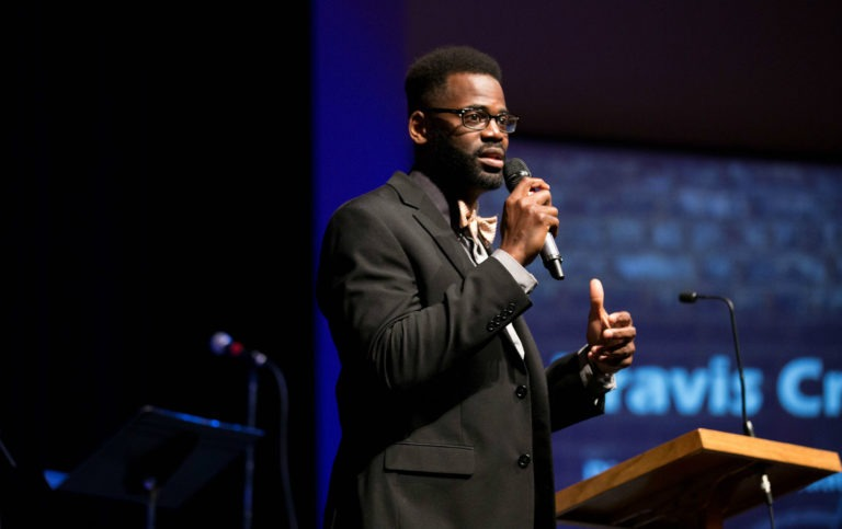 Dr. Travis Craver-Director of Chapel and Spiritual Formation giving a speach