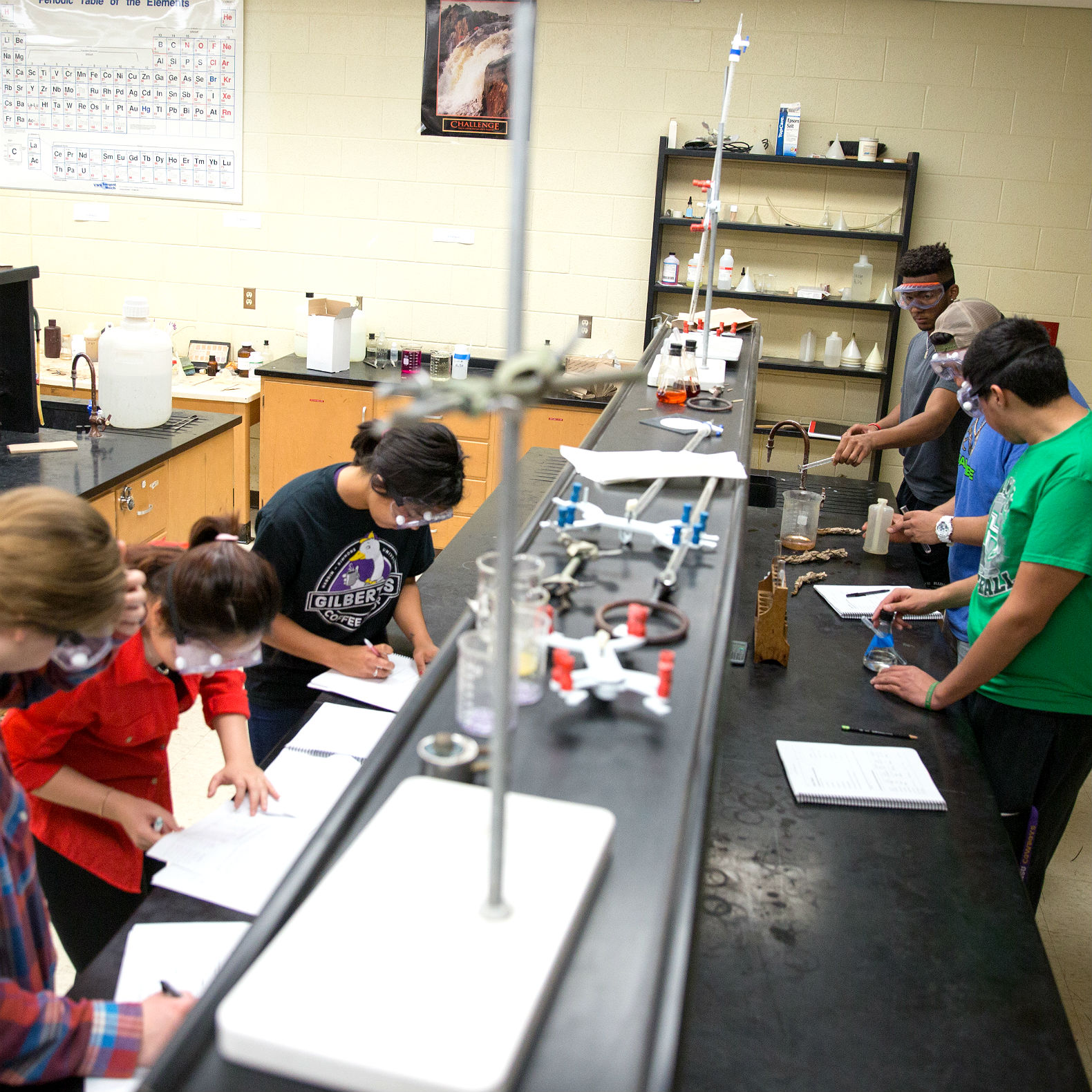 Photo of student doing lab exercises in lab room.
